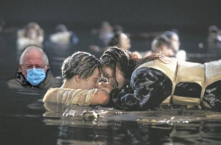 《鐵達尼號》:伯尼桑德斯梗圖。