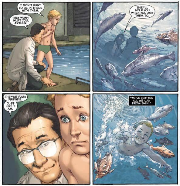 DC 漫畫中,亞瑟庫瑞在沈博士引導下開始親近海洋,與《水行俠》電影發展不同。