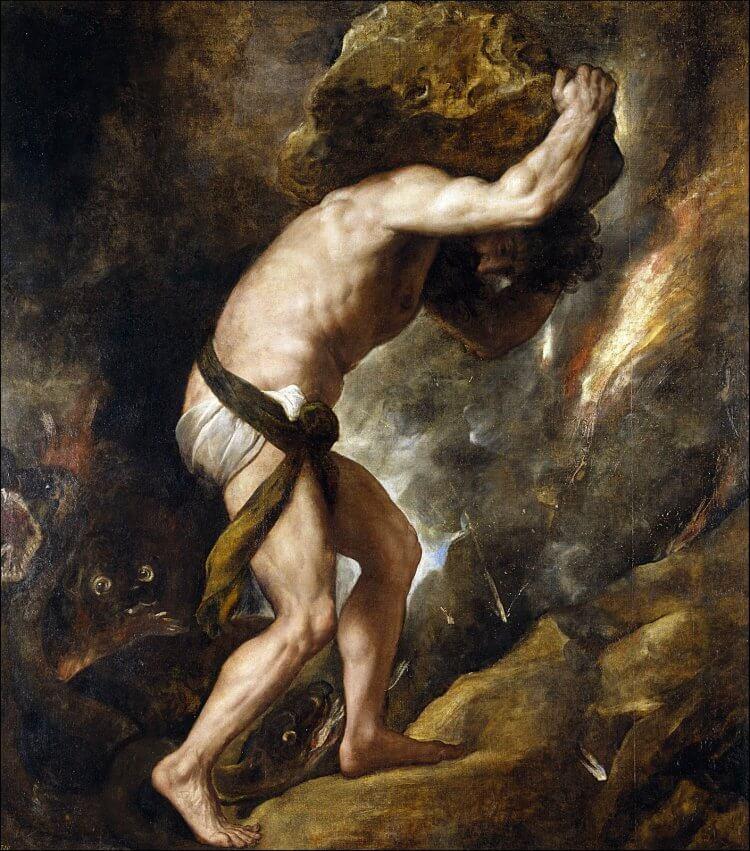 由義大利文藝復興時期畫家提香所繪的薛西弗斯。