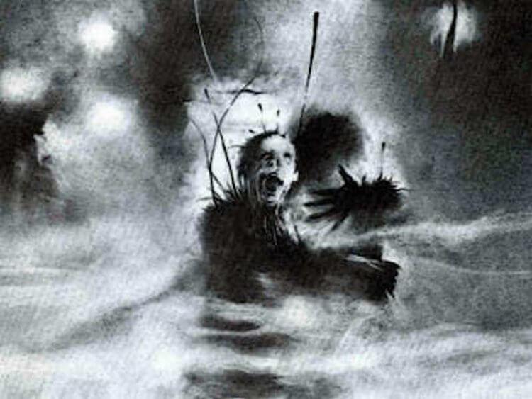 《在黑暗中說的鬼故事》電影預告片中可見到「從高處墜落之人」故事標題。