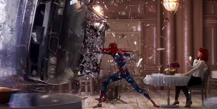 《 蜘蛛人:新宇宙 》中的彼得帕克蜘蛛人餐廳片段,與雷米版《蜘蛛人2》劇情相近。