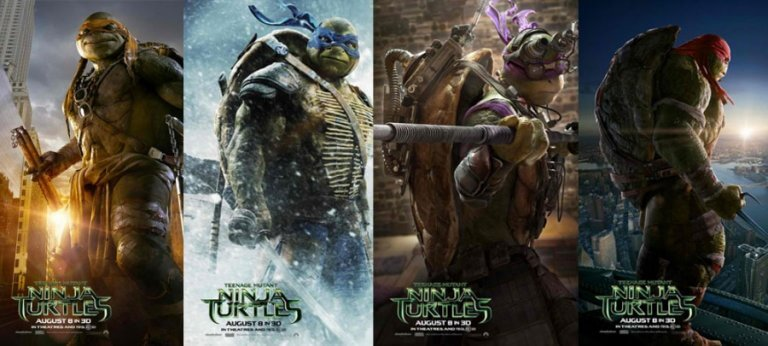住在下水道的變種英雄「忍者龜」:米開朗基羅、李奧納多、多納太羅、拉斐爾。