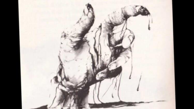 《在黑暗中說的鬼故事》預告片書頁裡,出現這個出自原著禁書第一本的「有著血手指的鬼魂」標題。