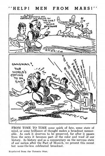 針對當年民眾因《世界大戰》廣播劇的過度反應而創作的政治時事漫畫。