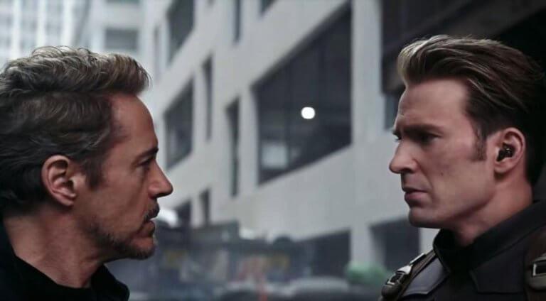 《復仇者聯盟:終局之戰》(Avengers Endgame) 預告裡的鋼鐵人 (Iron Man) 及美國隊長 (Captain America)。