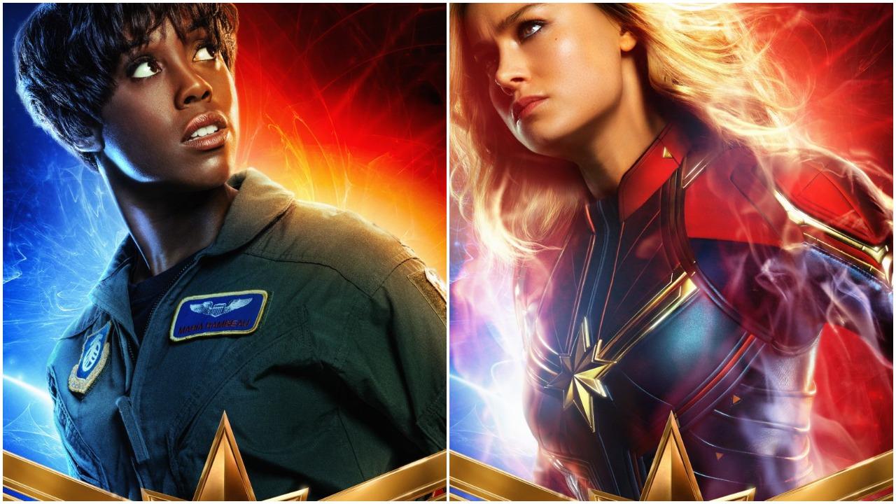 《驚奇隊長》電影海報,左:瑪麗亞拉姆博(拉沙納林奇 飾)、右:卡蘿丹佛斯(布麗拉森 飾)。