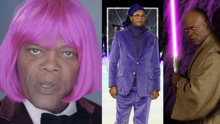 紫頭紫衣紫光劍,為什麼總是「MDFK」的山繆傑克森,演出的電影角色會紫成這樣?首圖