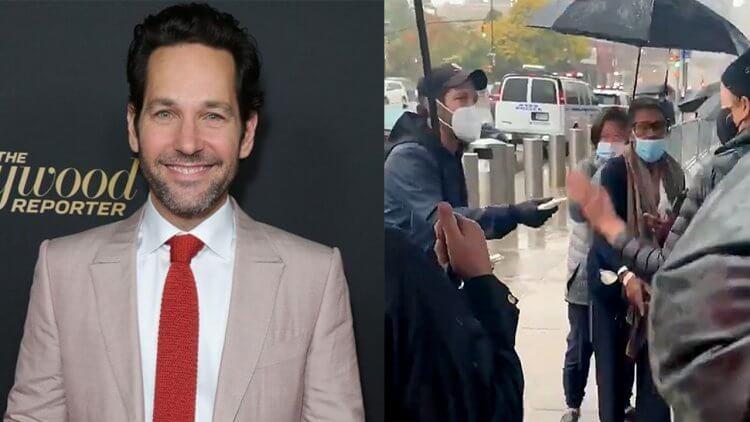 雨中送暖!「蟻人」保羅路德現身布魯克林街頭,為大選提前投票的選民發放餅乾首圖