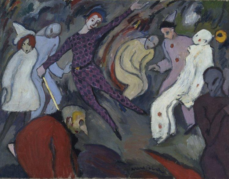 美國畫家阿爾伯特布洛赫 (Albert Bloch) 的繪畫作品「丑劇」(Harlequinade,1911)。