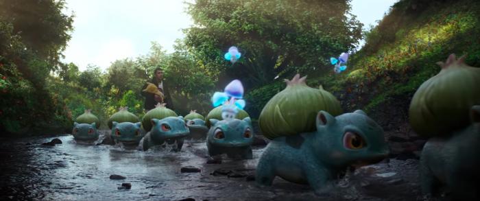 好萊塢《名偵探皮卡丘》預告片中的妙蛙種子與睡睡菇。