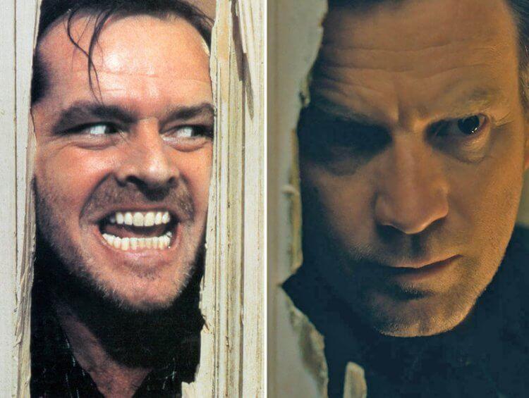 《鬼店》裡抓狂的傑克(左)與《安眠醫生》裡他長大的兒子丹尼(右)。
