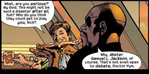 馬克米勒與布萊恩海奇繪製的漫威漫畫《終極宇宙》中所登場的尼克福瑞(右)。