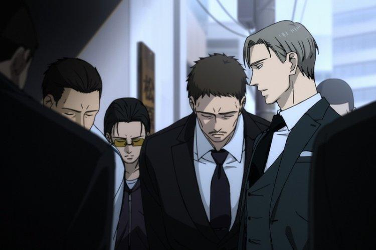 同名漫畫改編 BL 動畫電影《鳴鳥不飛:烏雲密布》描述黑道幹部「矢代」與手下「百目鬼」間的愛恨交雜。