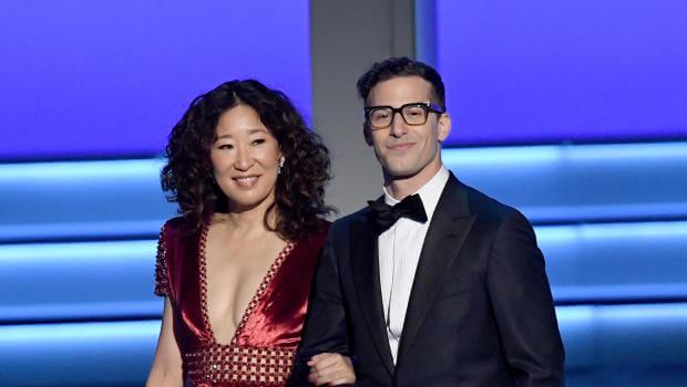 金球獎主持人:《實習醫生》影集女演員吳珊卓(Sandra Oh)和《荒唐分局》喜劇影集男主角:安迪山伯格(Andy Samberg)搭檔主持