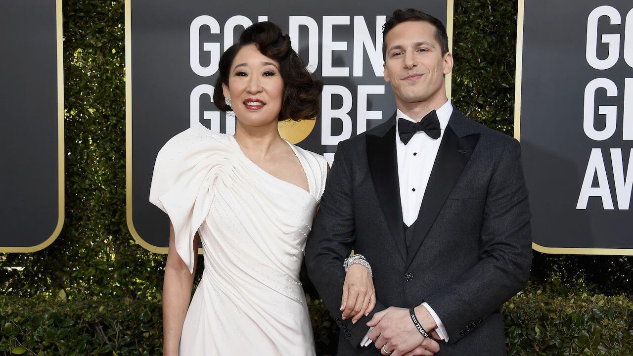 吳珊卓和安迪山伯格搭檔主持 2019 年度金球獎頒獎典禮。