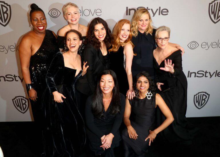 女力風潮之後,好萊塢女星支持「Time's up」運動,全黑出席金球獎的合影。