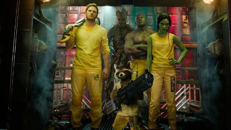 漫威超級英雄電影《星際異攻隊》中的主角們:星爵、火箭浣熊、葛摩拉、毀滅者德克斯以及格魯特。