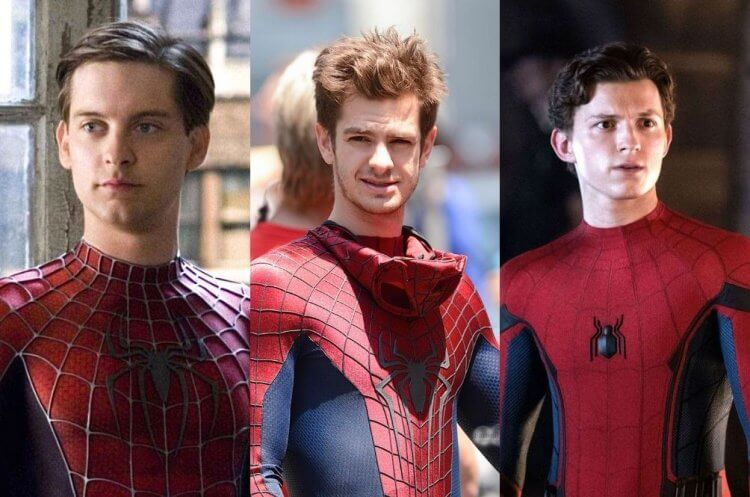 三代蜘蛛人:陶比麥奎爾、安德魯加菲爾德,以及湯姆霍蘭德。