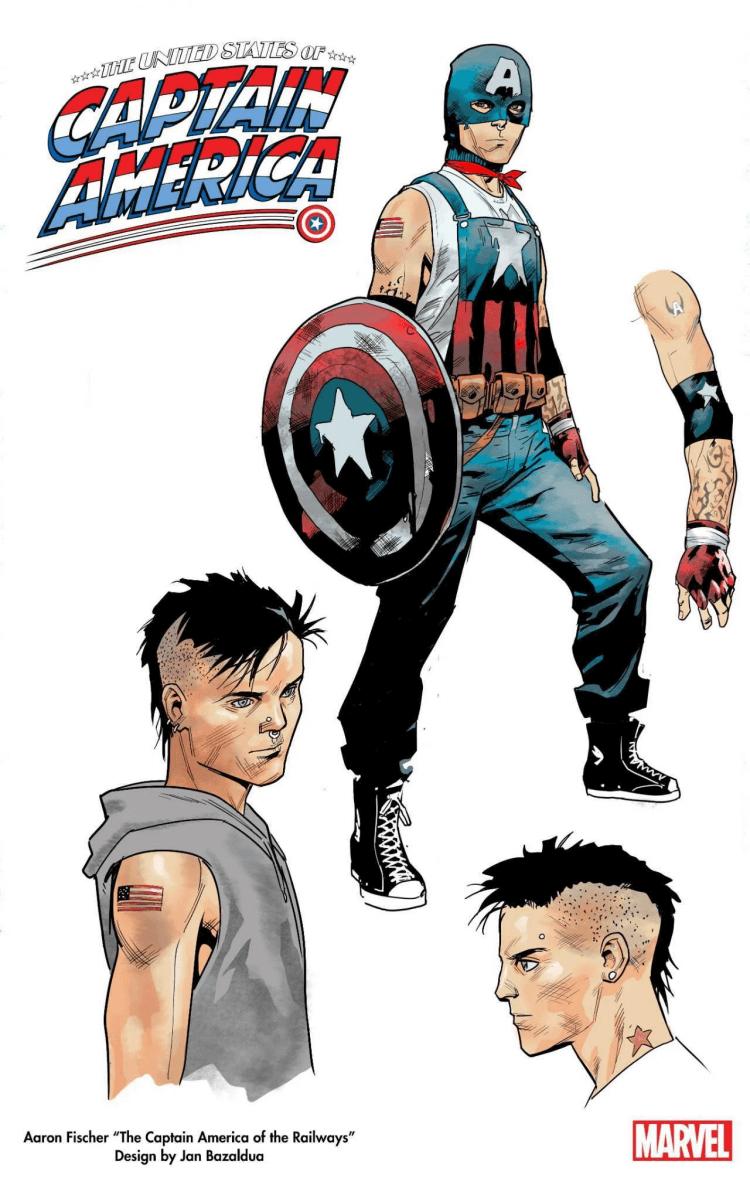 《The United States of Captain America》由巴扎爾杜阿設計的亞倫費雪。