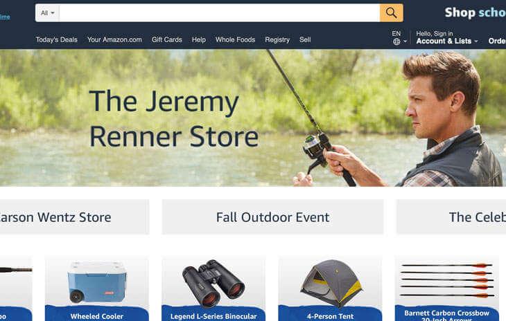 「鷹眼」傑瑞米雷納在亞馬遜電商平台開的專賣野外求生用品的「傑瑞米雷納小店」。