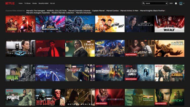 Netflix 使用者介面圖。