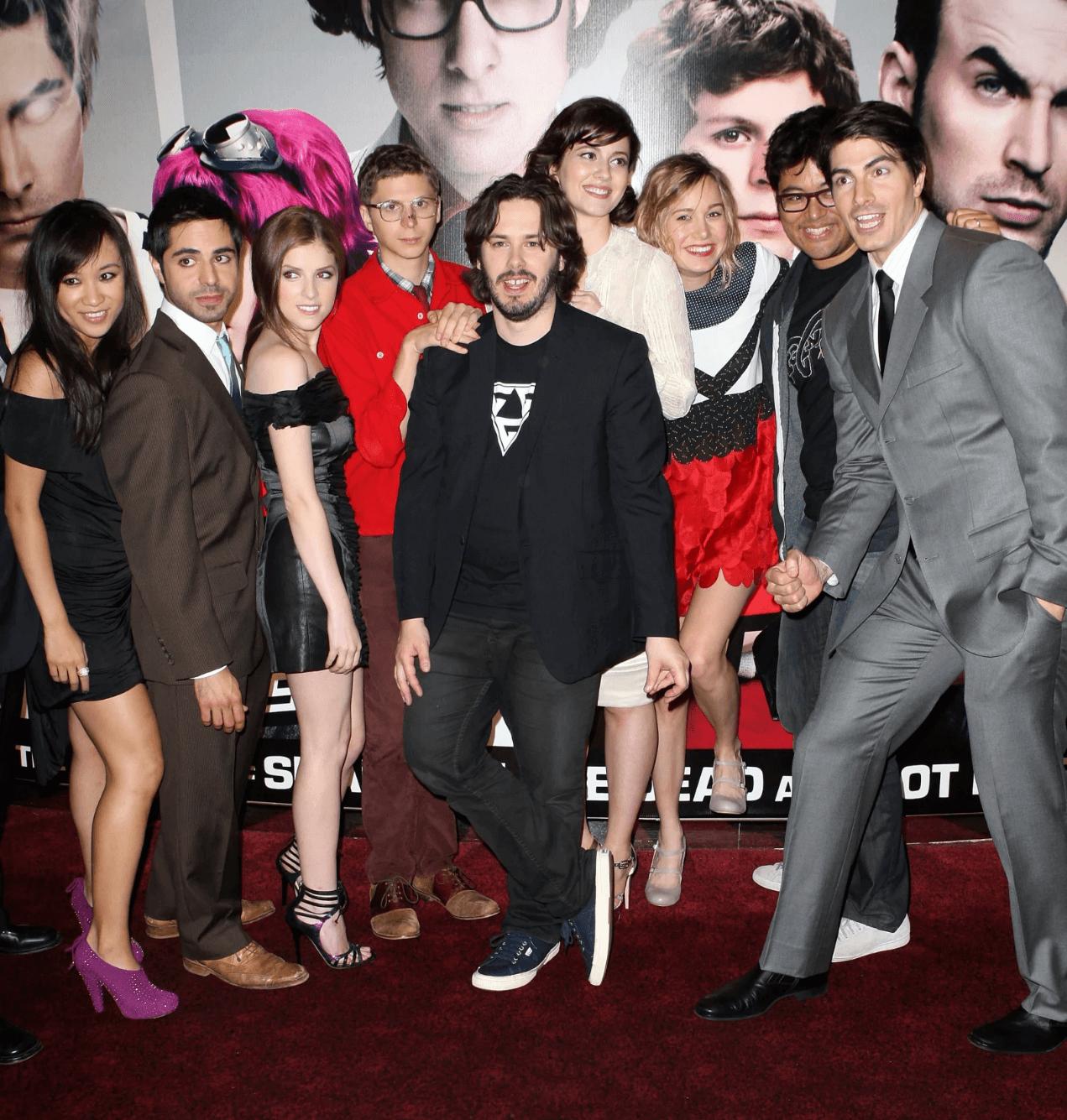 電影《歪小子史考特》首映會上的卡司陣容。