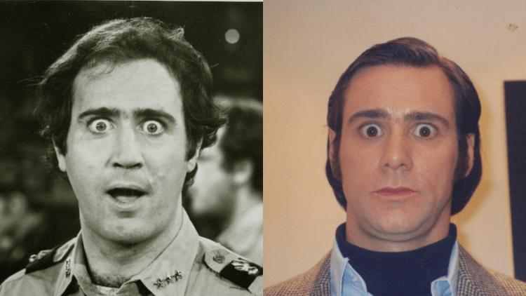 曾於電影《月亮上的男人》詮釋偶像安迪考夫曼(左)的金凱瑞(右)。