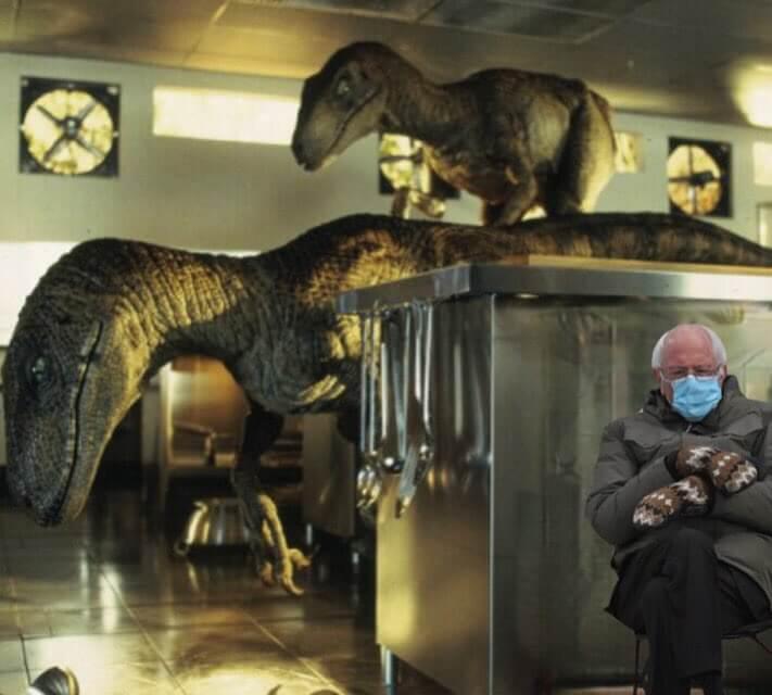 伯尼桑德斯:躲避恐龍的追擊。