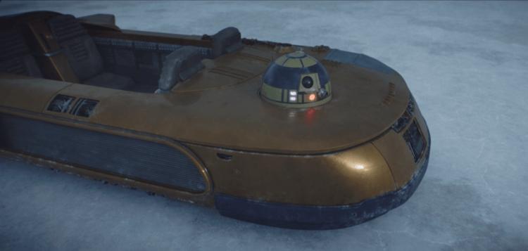 《曼達洛人》裝載 R2 機器人的越野飛艇。