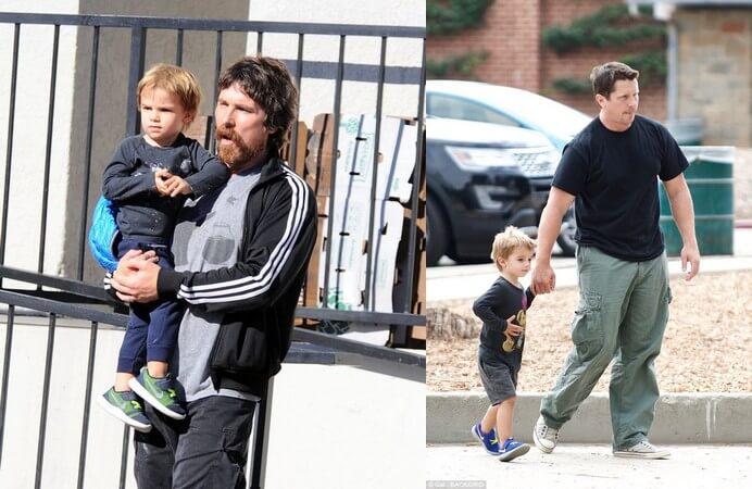 克里斯汀貝爾與小兒子。