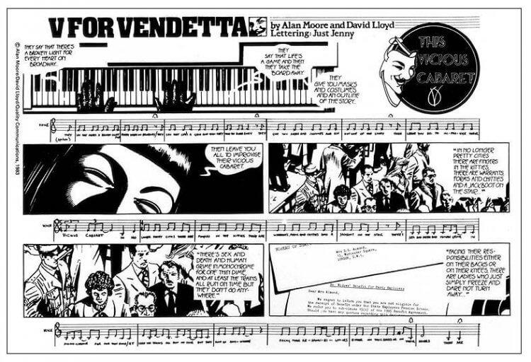 英國漫畫作家亞倫摩爾創作的《V 怪客》,不僅透過作品傳達對社會的諷刺與影射,將章節以樂譜呈現等手法更展現題材文化的多元層面。