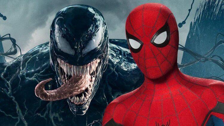 湯姆霍蘭德 (Tom Holland) 飾演的蜘蛛人和湯姆哈迪 (Tom Hardy) 飾演的艾迪布洛克 (Eddie Brock)