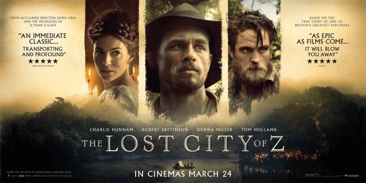 真人實事小說改編的電影 《失落之城》電影海報,席安娜米勒、查理漢納、羅伯派丁森及湯姆霍蘭德等豪華卡司攜手共演。
