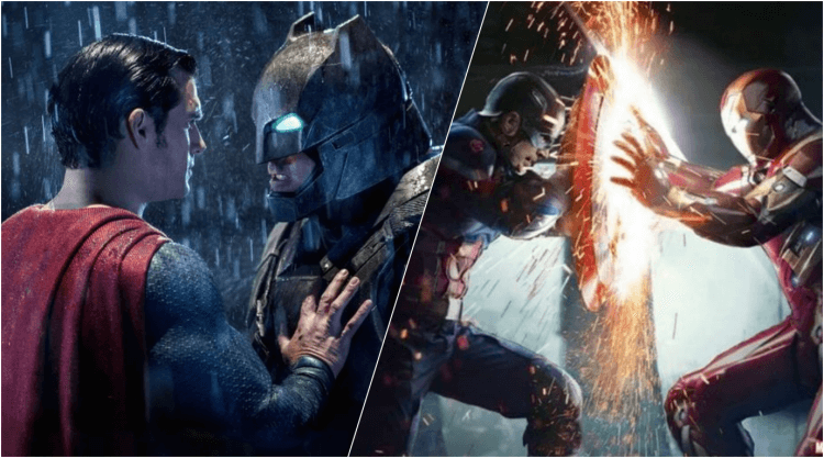 DC《蝙蝠俠對超人:正義曙光》(Batman V Superman: Dawn of Justice) 以及漫威《美國隊長3:英雄內戰》(Captain America: Civil War) 兩部電影評價完全不同