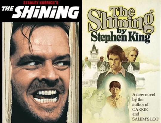 史丹利庫柏力克拍攝的《鬼店》電影(左)以及史蒂芬金的同名原著(右)