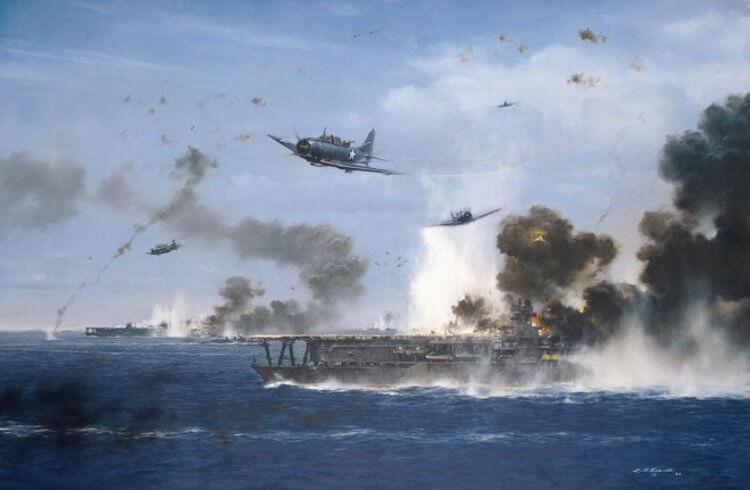 美國畫家史密斯 (R.G. Smith) 所繪製的中途港大戰作品。
