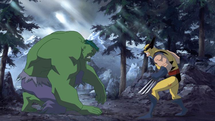 2009 年漫威超級英雄系列動畫電影《綠巨人大戰》(Hulk Vs.) 中,浩克與金鋼狼展開硬派對決。