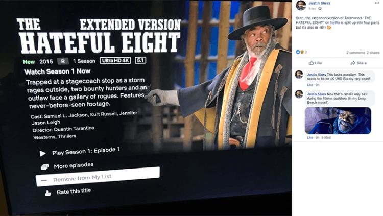 昆汀將《八惡人》增添成四小時的加長版,在 Netflix 上上架。