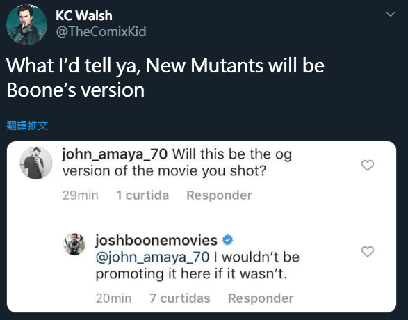 編導喬許布恩 (Josh Boone) 在推特上澄清,《變種人》將會維持他原本攝製的版本。