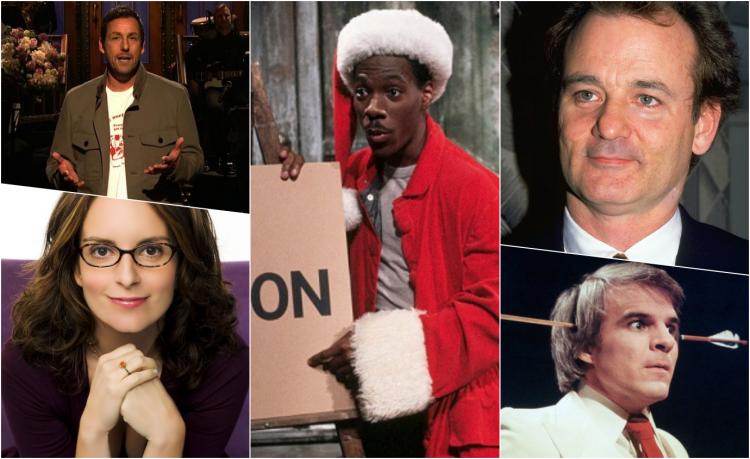從美國長青直播綜藝節目《週六夜現場》順利轉換跑道的演員們:比爾莫瑞、史蒂夫馬汀、艾迪墨菲、蒂娜菲、亞當山德勒。