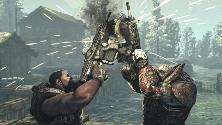 《戰爭機器》(Gears of War) 遊戲畫面。
