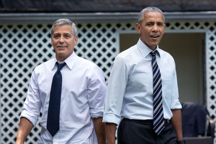 喬治克隆尼(左)與歐巴馬(右)。
