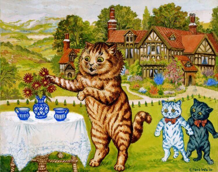英國傳奇愛貓畫家路易斯韋恩中期的畫作,有許多高度擬人化的貓。