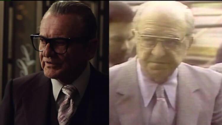 常與勞勃狄尼洛在黑幫電影共演的喬派西(左),在《愛爾蘭人》中飾演老大羅素布法利諾。