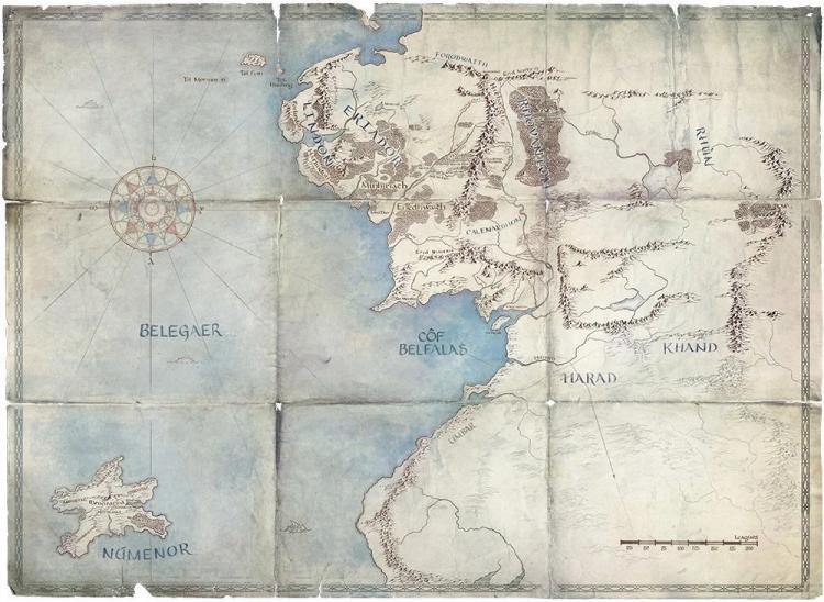 《魔戒》影集釋出的地圖透露出影集內容將會設定在中土世界的「第二紀元」。