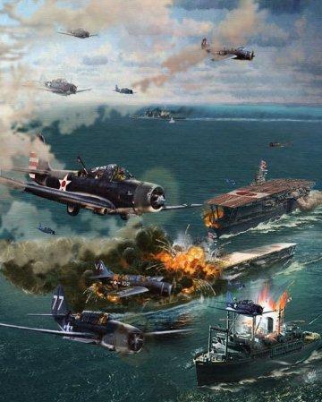 中途島大戰的資料圖片。美軍進攻日本的海軍航母。