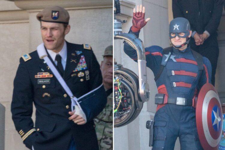 懷特羅素在《獵鷹與酷寒戰士》的兩種裝扮。