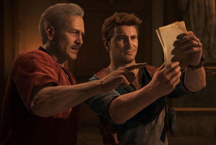 《秘境探險》遊戲中的德瑞克與他的導師蘇利。