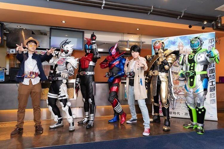 《劇場版 假面騎士 ZI-O Over Quartzer》電影 12/13 起在台上映,12/10 特映會更有熱情粉絲以各系列假面騎士 COSPLAY 裝扮出席。(吳欣穎 攝)