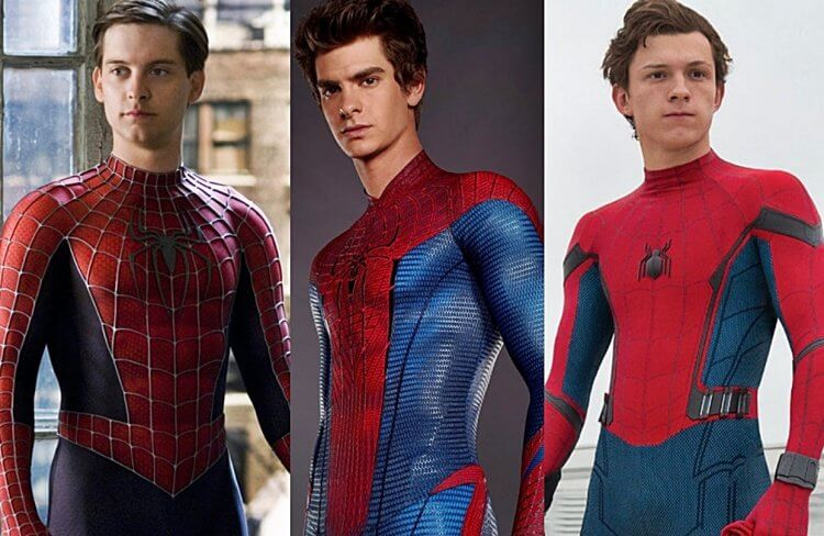 近年的三代電影蜘蛛人:陶比麥奎爾 (Tobey Maguire)、安德魯加菲爾德 (Andrew Garfield) 、湯姆霍蘭德 (Tom Holland)。